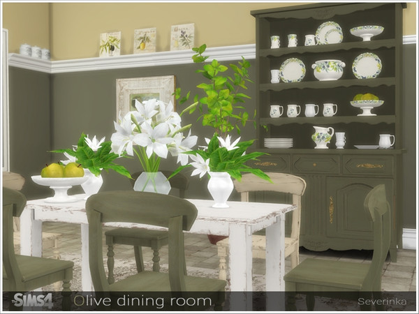 Olive dining decor by Severinka at TSR image 6913 Sims 4 Updates
