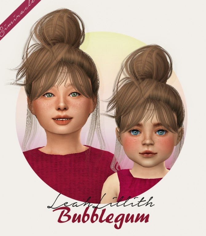 Sims 4 LeahLillith Bubblegum hair for kids and toddlers at Simiracle