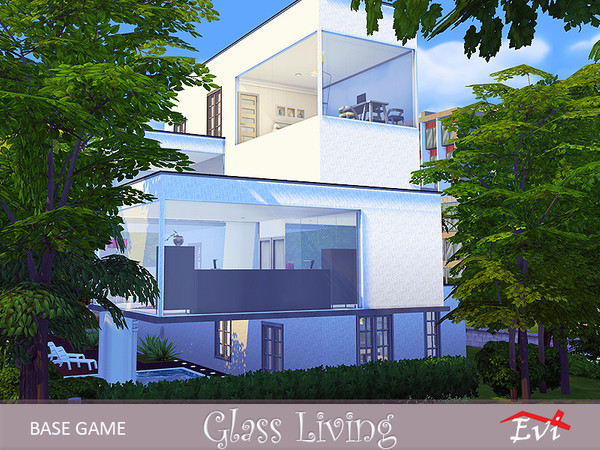Glass living 4 stories house by evi at TSR image 7126 Sims 4 Updates