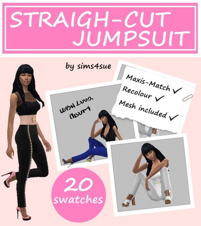 Sims 4 AAS's STRAIGHT CUT JUMPSUIT at Sims4Sue