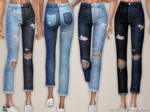 Sims 4 Two Tone Ankle Jeans by Black Lily at TSR