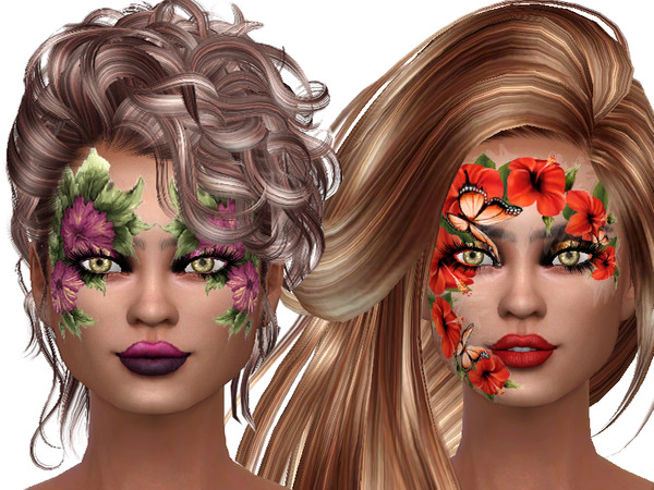 Flower face paint for ladys by TrudieOpp at TSR image 7414 Sims 4 Updates