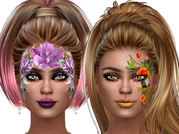 Flower face paint for ladys by TrudieOpp at TSR image 7515 Sims 4 Updates
