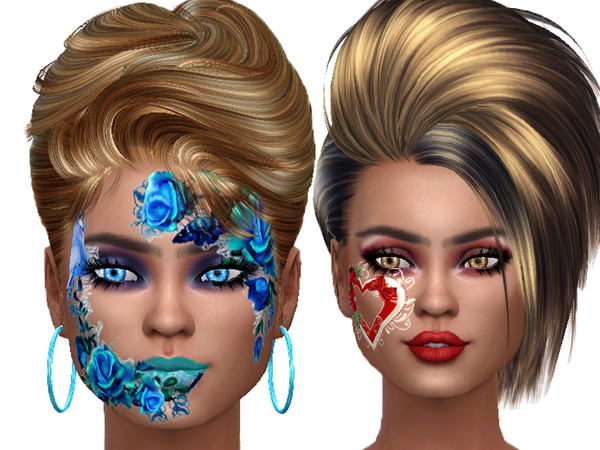 Flower face paint for ladys by TrudieOpp at TSR image 7615 Sims 4 Updates
