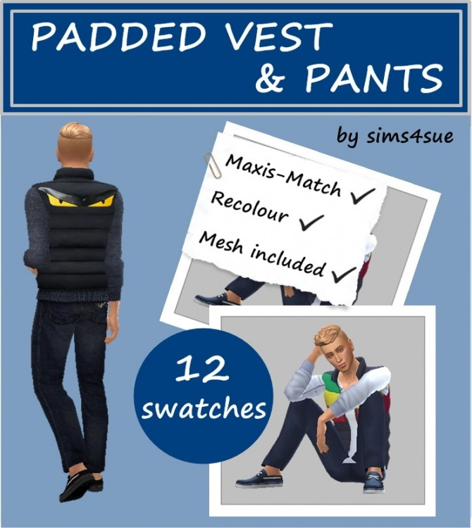 PADDED VEST & PANTS at Sims4Sue image 7813 670x750 Sims 4 Updates
