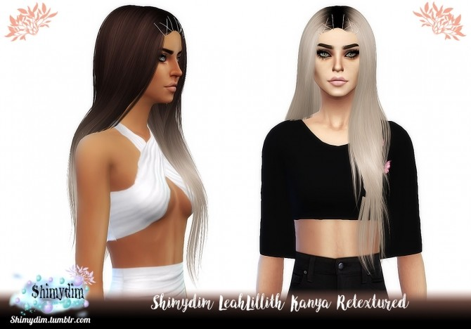 Sims 4 LeahLillith Kanya Hair Retexture + Ombre and DarkRoots Naturals + Unnaturals at Shimydim Sims