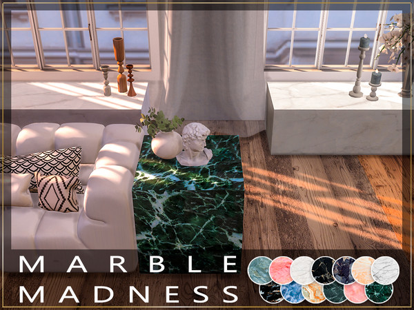 Sims 4 Marble Madness 5 non glossy end/coffee tables by Winner9 at TSR