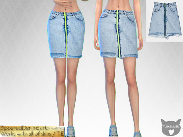 Sims 4 Zippered Denim Skirt by turksimmer at TSR