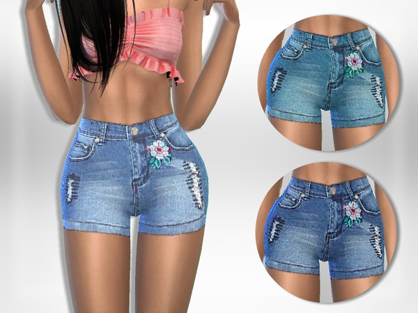 Sims 4 Floral Shorts by Puresim at TSR