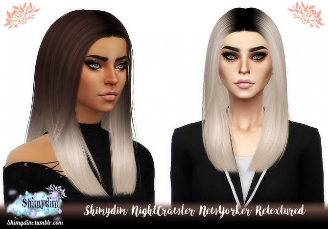 Sims 4 NIGHTCRAWLER NEWYORKER HAIR OMBRE + DARKROOTS at Shimydim Sims