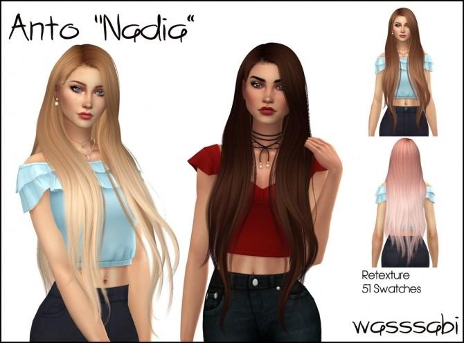 Sims 4 Antos Nadia hair retexture at Wasssabi Sims