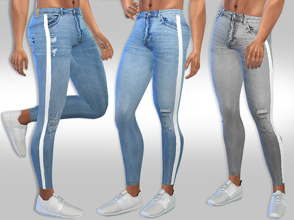 Sims 4 Male Sims Strip Line Fashion Ripped Jeans by Saliwa at TSR