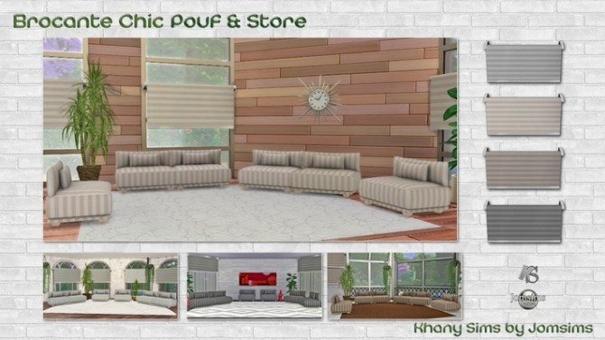 Sims 4 Puff and window blind by Jomsims and Guardgian at Khany Sims