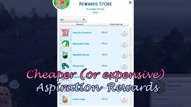 Sims 4 Cheaper or more expensive Aspiration Rewards by Todecide at Mod The Sims