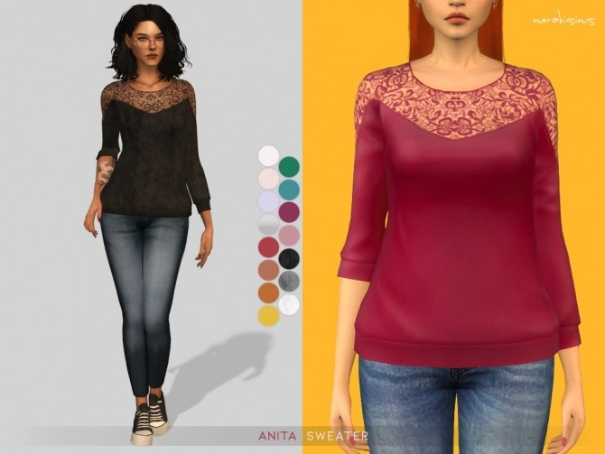 Anita Sweater at Merakisims image 1001 670x503 Sims 4 Updates