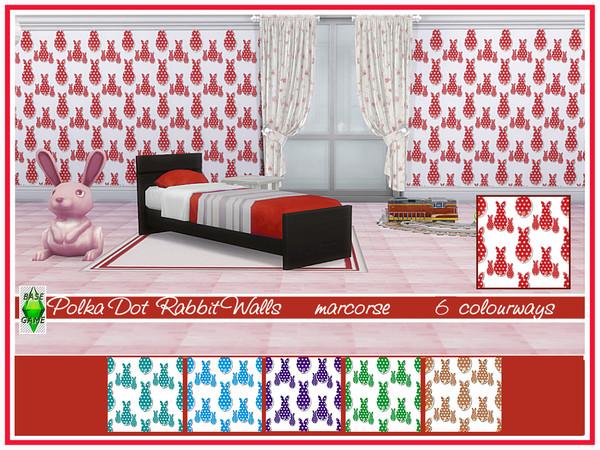 Sims 4 Polka Dot Rabbits Walls by marcorse at TSR