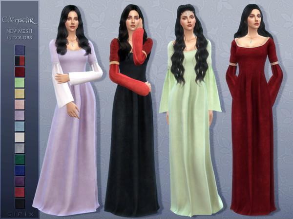 Sims 4 Evenstar dress by Sifix at TSR