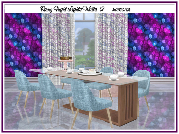 Rainy Night Lights Walls by marcorse at TSR image 1014 Sims 4 Updates