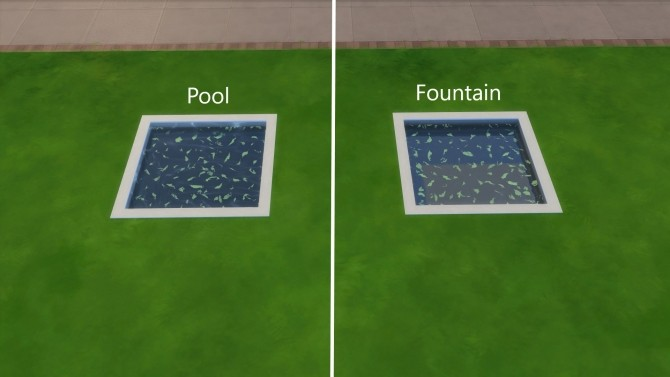 Sims 4 Small Green Leaves Pool and Fountain Water by Teknikah at Mod The Sims
