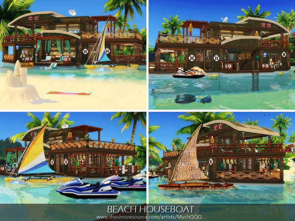 Sims 4 Beach Houseboat by MychQQQ at TSR