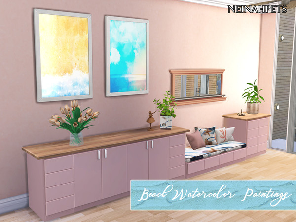Beach Watercolor Paintings Collection by neinahpets at TSR image 106 Sims 4 Updates