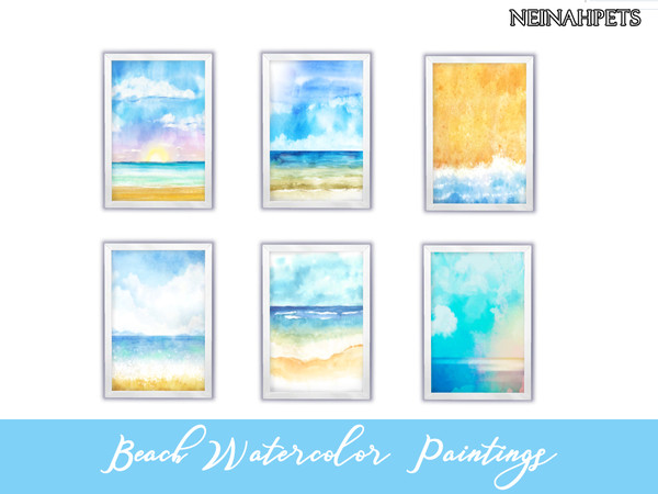 Beach Watercolor Paintings Collection by neinahpets at TSR image 107 Sims 4 Updates