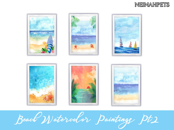 Beach Watercolor Paintings Collection by neinahpets at TSR image 108 Sims 4 Updates
