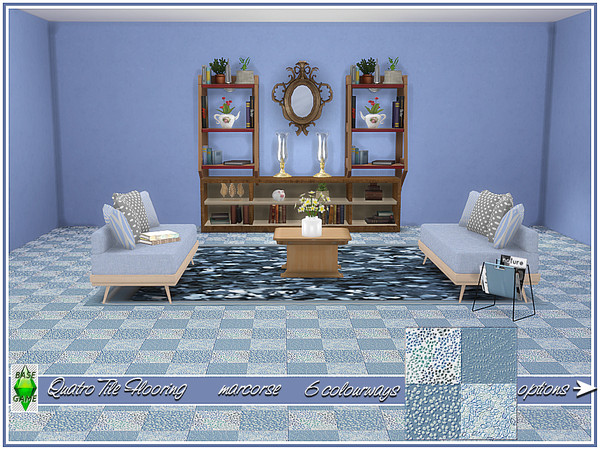 Sims 4 Quatro Tile Flooring by marcorse at TSR