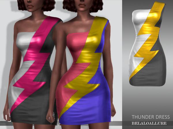 Sims 4 Belaloallure thunder dress by belal1997 at TSR