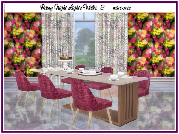 Sims 4 Rainy Night Lights Walls by marcorse at TSR