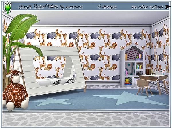Sims 4 Jungle Safari Walls by marcorse at TSR