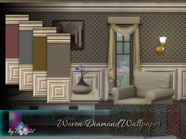 Sims 4 Woven Diamond Wallpaper by emerald at TSR