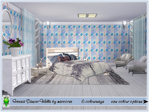 Sims 4 Freesia Dancer Walls by marcorse at TSR