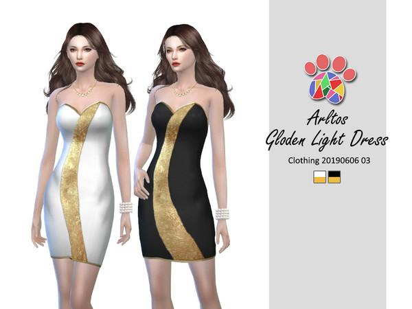 Sims 4 Gloden Light Dress by Arltos at TSR