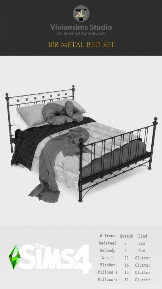 Sims 4 Metal Bed Set (P) at Viviansims Studio