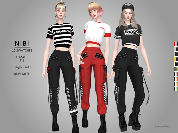 Sims 4 NIBI Industrial cargo pants by Helsoseira at TSR