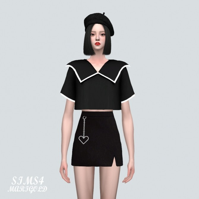 Sims 4 Big Collar Boxy Crop Top (P) at Marigold
