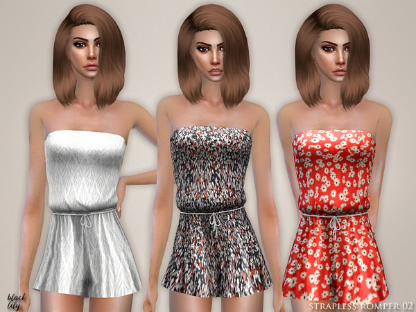 Sims 4 Strapless Romper 02 by Black Lily at TSR