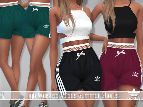 Sims 4 SET Summer Sporty Sweatshirts 02 and High Waisted Shorts by Pinkzombiecupcakes at TSR