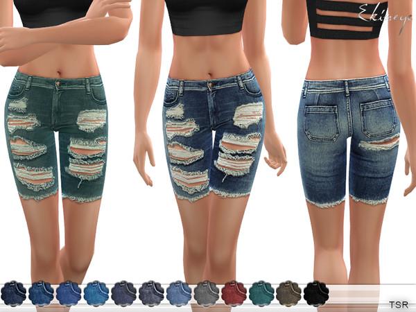Sims 4 Distressed Denim Shorts by ekinege at TSR