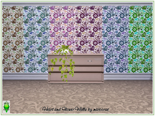 Sims 4 Heart and Flower Walls by marcorse at TSR