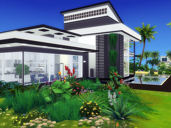 Sims 4 Jaros modern house by marychabb at TSR