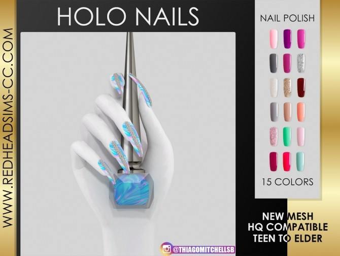 HOLO NAILS by Thiago Mitchell at REDHEADSIMS image 1534 670x504 Sims 4 Updates