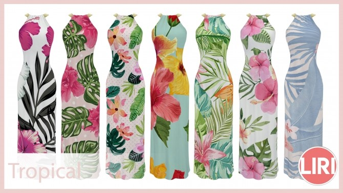 Sims 4 Summery Maxi Dress by Lierie at Mod The Sims