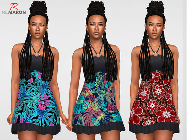 Floral Dress for women n02 by remaron at TSR image 1586 Sims 4 Updates
