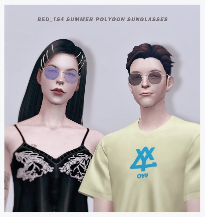 Sims 4 M&FM Summer polygon sunglasses at Bedisfull – iridescent