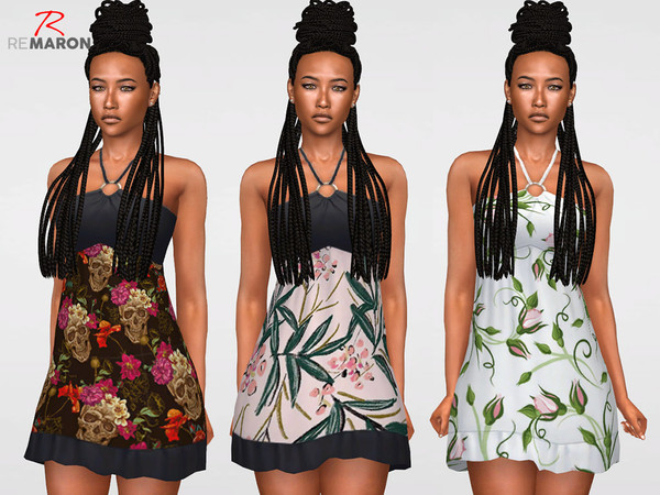 Floral Dress for women n02 by remaron at TSR image 1595 Sims 4 Updates
