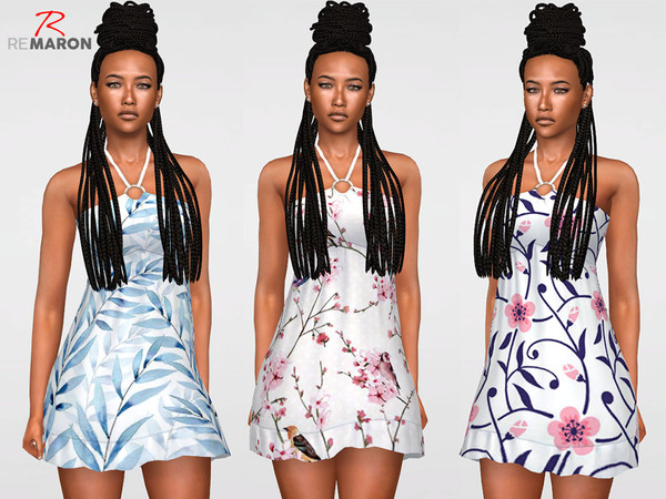 Floral Dress for women n02 by remaron at TSR image 1604 Sims 4 Updates