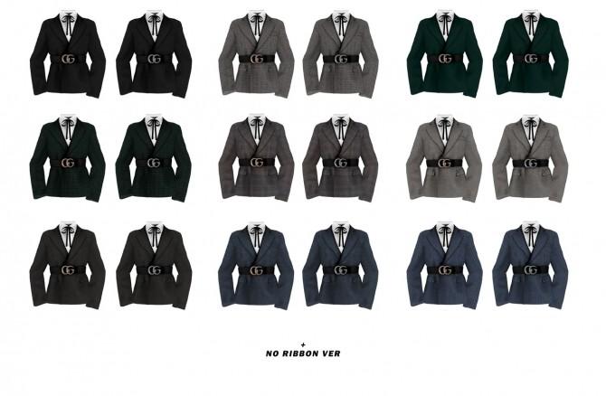 Sims 4 M logo belt suit at Bedisfull – iridescent