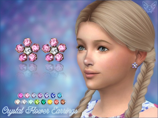 Sims 4 Crystal Flower Stud Earrings For Kids at Giulietta